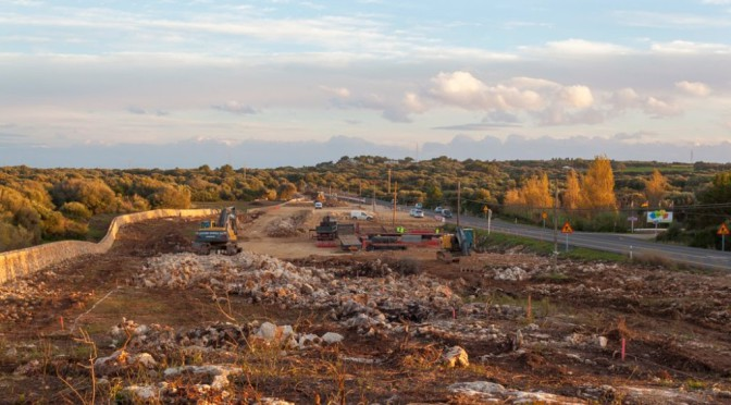 Works on the main road of Menorca